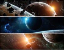 Panorama av det avlägsna planetsystemet i tolkningbeståndsdelar för utrymme 3D Arkivbild