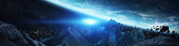 Panorama av det avlägsna planetsystemet i utrymme 3D som framför beståndsdelar av denna bild, möblerade vid NASA vektor illustrationer