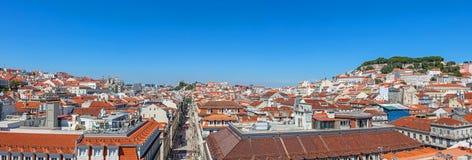 Panorama av det Baixa området av Lissabon Royaltyfria Bilder