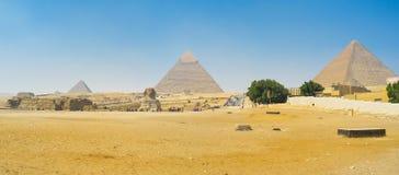 Panorama av det Giza komplexet Arkivbild