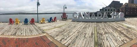 Panorama- av det Kanada 150 tecknet, Halifax i Nova Scotia Arkivbilder