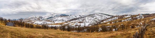 Panorama av det lantliga vinterlandskapet för sydostligt europeiskt berg royaltyfria foton