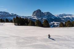 Panorama av Dolomitesfjällängar, Val Gardena, Italien med den ensamma personen i förgrunden royaltyfria foton