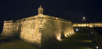 Panorama- av El Morro i gamla San Juan Puerto Rico Royaltyfria Bilder