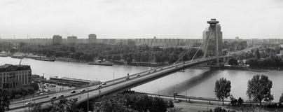 Panorama av en bro över staden royaltyfria bilder