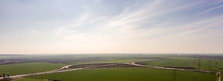 Panorama av en motorvägtriangel royaltyfri foto