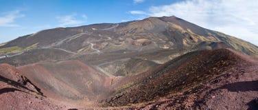 Panorama av etna krater Arkivbild