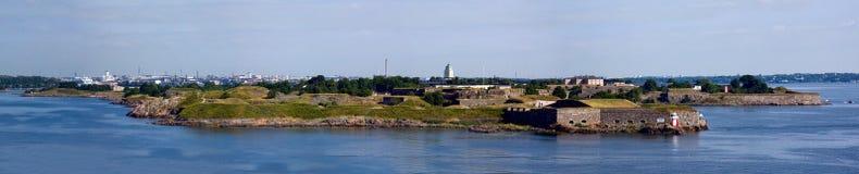 Panorama av fästningen av Suomenlinn i sommaren Fotografering för Bildbyråer