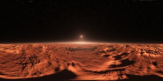Panorama 360 av Fördärva-som den Exoplanet solnedgången, miljööversikt Equirectangular projektion, sfärisk panorama stock illustrationer
