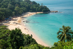 Panorama av fjärden av Kamala Beach i Phuket Arkivbild