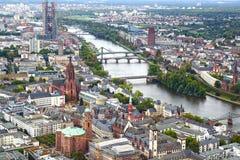 Panorama av Frankfurt - f.m. - strömförsörjning, Tyskland. royaltyfri bild