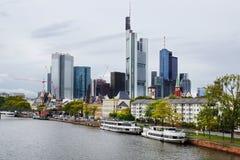 Panorama av Frankfurt am Main, Tyskland. arkivfoto