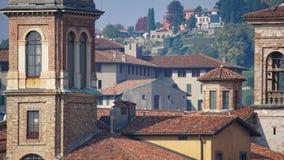 Panorama av gamla Bergamo, Italien Bergamo som kallas också den La Citt deien Mille, staden av tusenen, är en stad i Lombardy som Fotografering för Bildbyråer