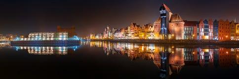 Panorama av Gdansk den gamla staden Fotografering för Bildbyråer