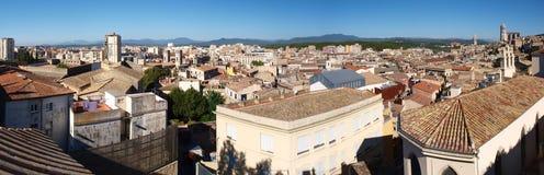 Panorama av Gerona, Spanien Royaltyfria Bilder