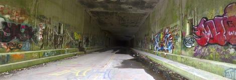 Panorama av grafitti i övergiven tunnel Arkivbild