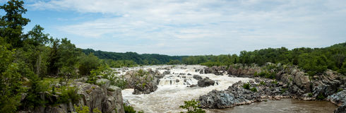 Panorama av Great Falls på Potomac River Royaltyfria Bilder
