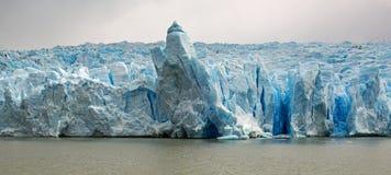 Panorama av Grey Glacier, Patagonia, Chile royaltyfri foto