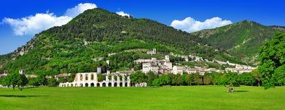 Panorama av Gubbio Arkivbilder