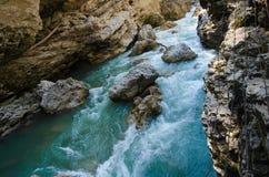 Panorama av härliga White River i caucasian berg i Adygea, Ryssland 23 region Krasnodar Royaltyfria Bilder