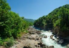 Panorama av härliga White River i caucasian berg i Adygea, Ryssland 23 region Krasnodar Arkivfoto