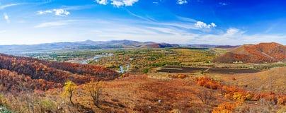 Panorama av hösten Arkivbild