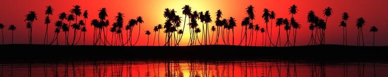 Panorama av havssolnedgången över en tropisk strand Fotografering för Bildbyråer