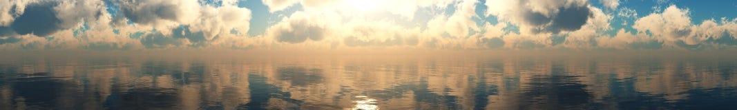 Panorama av havssolnedgången Arkivfoton