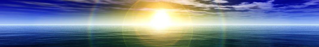 Panorama av havssolnedgången Royaltyfri Foto
