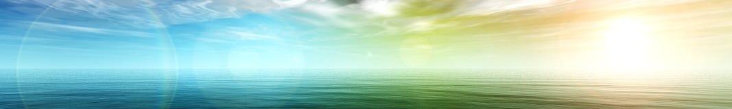 Panorama av havssolnedgången Arkivbild