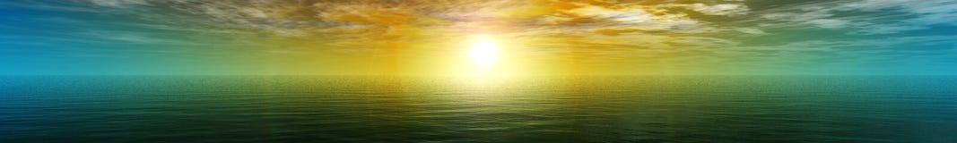 Panorama av havssolnedgången Royaltyfri Bild