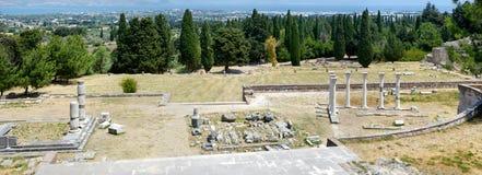Panorama av historiskt fördärvar av Asclepieion på Kos royaltyfri fotografi