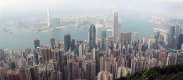 Panorama av Hong Kong från Victoria Gap, nära överkanten av Victori Arkivbilder