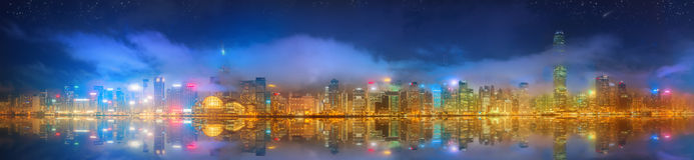 Panorama av Hong Kong och det finansiella området Royaltyfri Bild