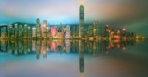 Panorama av Hong Kong och det finansiella området Arkivbild