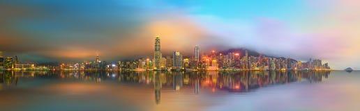 Panorama av Hong Kong och det finansiella området Royaltyfria Bilder