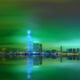 Panorama av Hong Kong och det finansiella området Arkivbilder