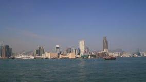 Panorama av Hong Kong Victoria Harbour cityscape lager videofilmer