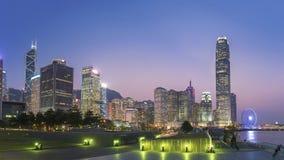 Panorama av horisont av den Hong Kong staden Royaltyfria Bilder