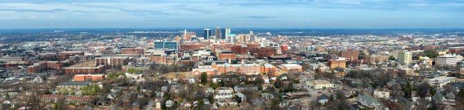 Panorama- av i stadens centrum Birmingham, Alabama Arkivfoto