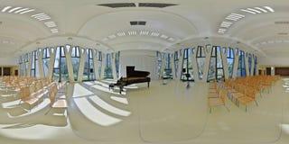 panorama 360 av inre av konserthallen för turist- mitt i Baja, Ungern arkivbild