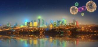 Panorama av Istanbul på natten med fyrverkerier Royaltyfria Bilder