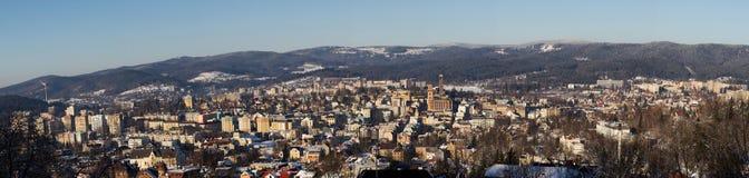 Panorama av Jablonec nad Nisou royaltyfri fotografi