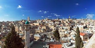 Panoramat - taklägger av den gammala staden, Jerusalem Arkivbilder