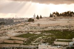 Panorama av Jerusalem från Mountet of Olives Royaltyfria Foton