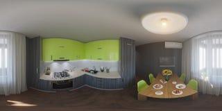 panorama 360 av kökdesignen Royaltyfri Fotografi
