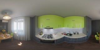 panorama 360 av kökdesignen Arkivfoton