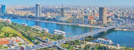 Panorama av Kairoaffärsområdet, Egypten arkivbild