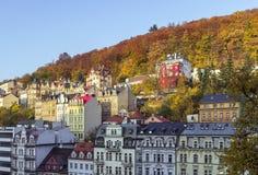 Panorama av Karlovy varierar, Tjeckien Arkivbild