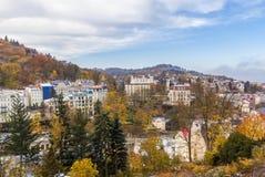 Panorama av Karlovy varierar, Tjeckien Fotografering för Bildbyråer
